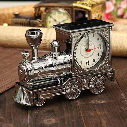 Retro Train Creative Alarm Clock Vintage Simulation Steam Train Quartz Alarm Clock Decor Gift