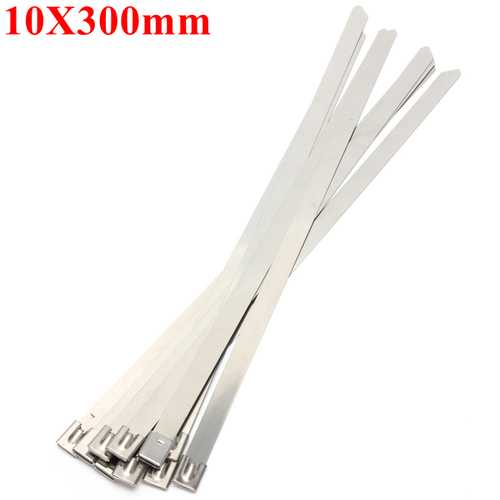10pcs 10X300mm Ball Lock Metal Stainless Steel Zip Ties Wrap Strap