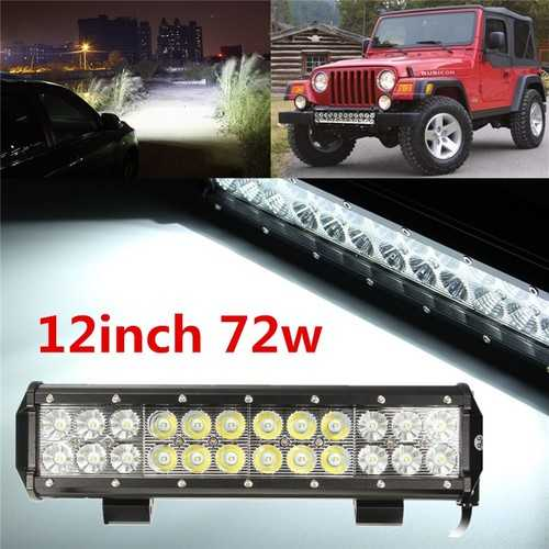 12inch 72W LED Work Light Bar Spot Flood Combo UTE Off Road 4X4 ATV 4WD Lamp
