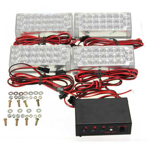 10.5V-13.5V 22 x LED Flash Strobe Car 4 Bars Warning Emergency Grill Light Lamp