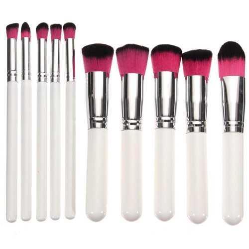 10Pcs White Make Up Brushes Set  Eyeshadow Eyeliner Foundation Face Powder Cosmetic Brush Kit