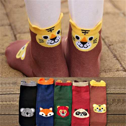 1 Pair Women Ladies Cute Cartoon Socks Animal Cotton Stereo Hosiery