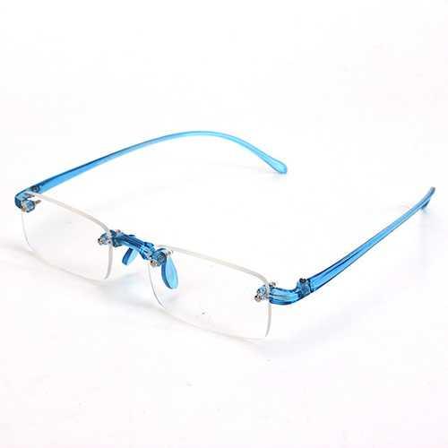 Blue Rimless Light Presbyopic Reading Glasses Fatigue Relieve Strength 1.0 1.5 2.0 2.5 3.0