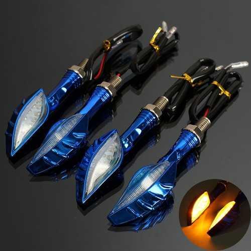4pcs Skull Universal Motorcycle Amber Indicator LED Turn Signal Light