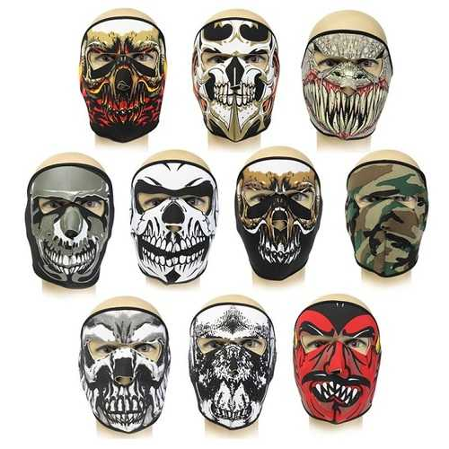 Neoprene Full Face Reversible Biker Skateboard Motor Bike Scary Sports Mask CS Mask
