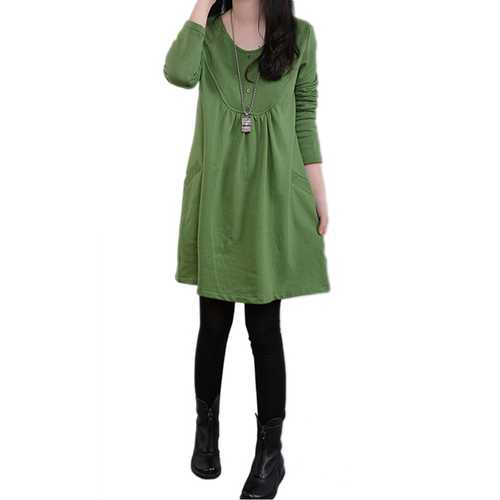Brief Casual Loose Pocket Solid Long Sleeve Mini Dresses