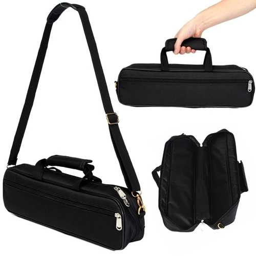 Flute Carry Bag Cover with Side Pocket Shoulder Strap Black