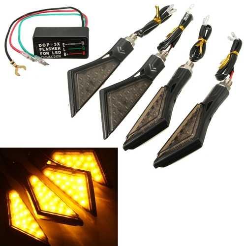 4pcs Universal 15LED Motorcycle Turn Signal Light Indicators Lamp and Flasher Relay