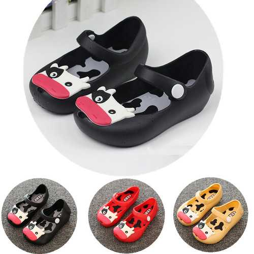 Baby Toddler Kids Children Mini Beach Summer Jelly Fish Mouth Sandals Cow Cattle Rainy Rubber Anti Slip Shoes