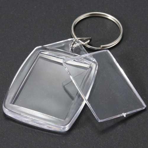 25x35mm Clear Acrylic Plastic Blank Photo Insert KeyRing