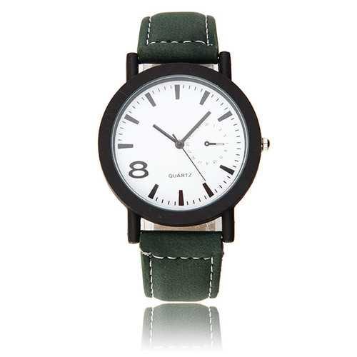 Casual Fashion Black Color Case PU Leather Band Analog Men Women Quartz Watch