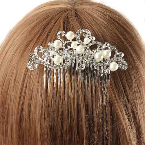 Bridal Wedding Pearl Crystal Rhinestone Hairpin Flowers Diamante Hair Clip Comb