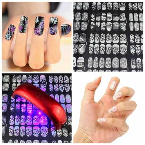 Flower Floral Design Color Change Changing Nail Sticker Changed with Sunlight UV Light