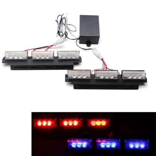 2 X 9 Car Led Strobe Light Grille Flashing Escorting Lights Alertor Available