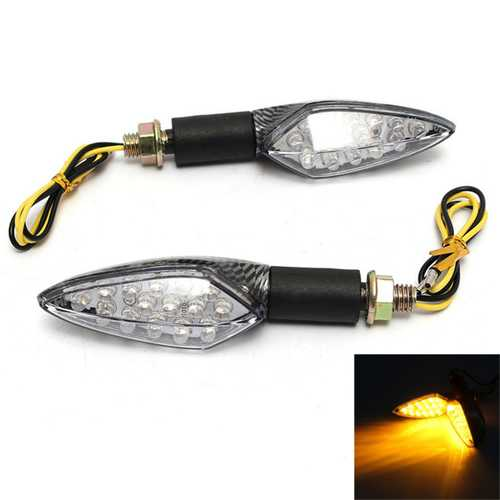 12V 15LED Motorcycle Turn Signal Indicator Blinker Light Amber Flexible Handle