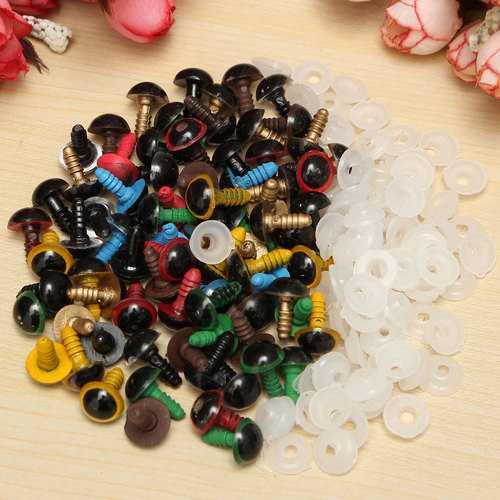 80pcs 10mm Baby Kids Handicraft Art Mix Color Plastic Safety Eyes DIY Teddy Bear Doll Plush Toys Puppet Crafts