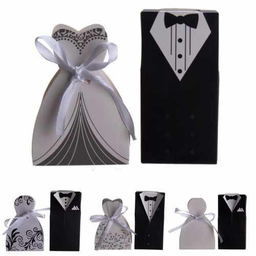 100pcs Wedding Favor Candy Box Bride Bride Groom Formal Dress Couple Invitation Gift Accessories