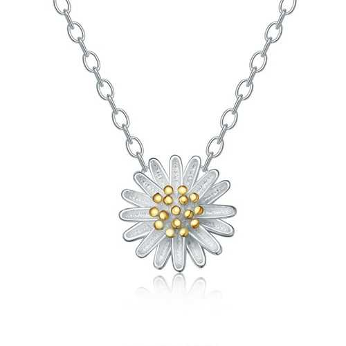 Delicate Daisy S925 Sterling Silver Short Necklaces for Women