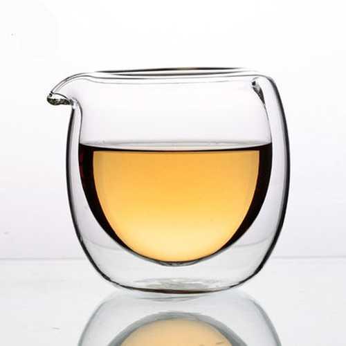 Jingdezheng 150ml Double Layer High Temperature Resistant Glass Tea Fair Cup Anti-hot Serving Cup