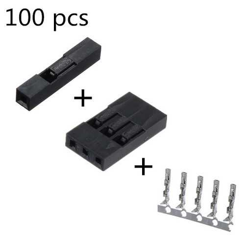 100 PCS 1P+ 3P Dupont Jumper Wire Housing + Female Pin Connector 2.54mm Interval