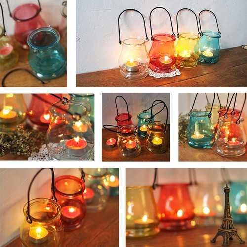 Clear Glass Hanging Bottle Candle Holder Vase Candelabra Romantic Home Wedding Decor Gift