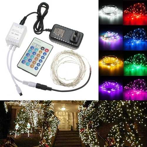 12V 5M 50LED Silver Wire Christmas String Fairy Light Remote Controller with Adapter