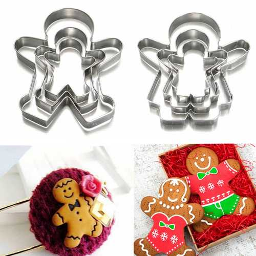 3Pcs Christmas Gingerbread Man Cookie Cutter Stainless Steel Biscuit Mold