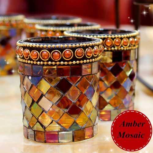 Handicraft Amber Mosaic Glass Candle Stick Candle Holder Candelabra Home Wedding Decor Gift