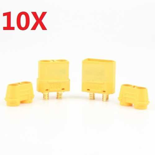 10 Pair Amass XT90+ Plug Connector Male & Female With Sheath for RC Drone Airplane Car Battery Cable