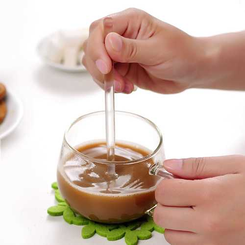 3PCS Borosilicate Transparent Glass Coffee Scoop Sugar Spoon Coffee Spoon Stirring Tools