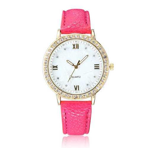 Casual Fashion Crystal PU Leather Band Women Analog Quartz Wrist Watch