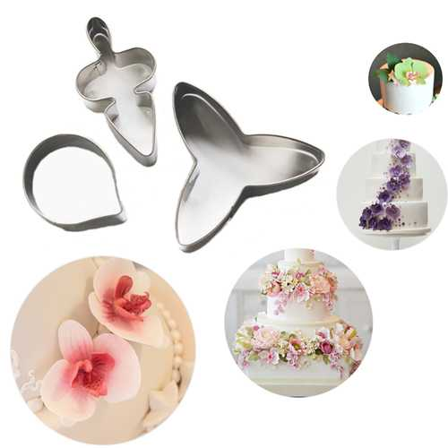 3Pcs Moth Orchid Stainless Steel Cookie Cutter Fondant Cake Mold