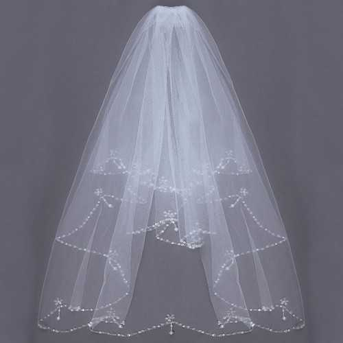 2 Layers Bride Elbow Beaded Edge Pearl White Ivory Bridal Wedding Veil with Comb