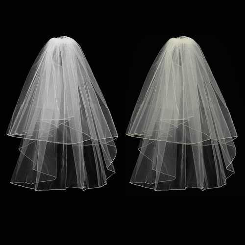 2 Layers Bride White Ivory Wedding Bridal Elbow Hemmed Satin Edge Veil With Comb