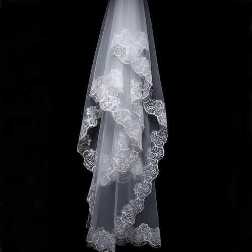 3M Bride White Ivory Elegant Cathedral Length Wedding Bridal Veil With Lace Edge