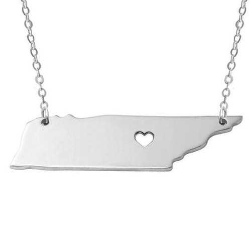 United Tennessee States Map Pendant Chain Stainless Steel Unisex Necklace