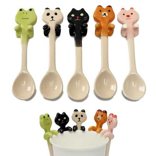 Cute Cartoon Animal Ceramic Hanging Coffee Scoop Milk Tea Soup Spoon Tableware Decor