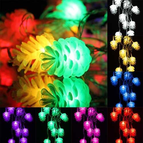 5M 20LED Pine Cone Fairy String Light Waterproof Christmas Outdoor Decor 220V