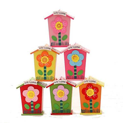 1pc Wooden Money Saving Little House Flower Love Heart Animal Box Gift Novelties Toys