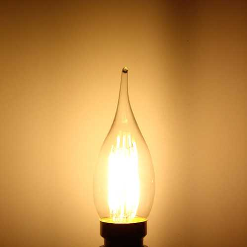 B22 C35 4W COB White/Warm White  Filament Bulb Edison Retro Glass Lamp Non-Dimmable AC 220V