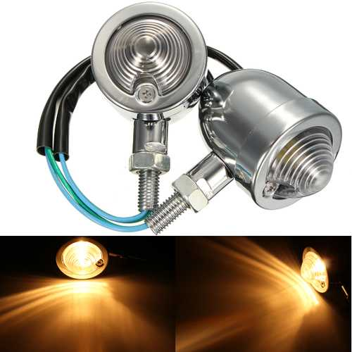 12V Motorcycle Bullet Turn Signal Indicator Amber Lights Universal