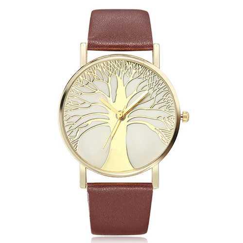 Casual Life Tree PU Leather Strap Analog Quartz Watch
