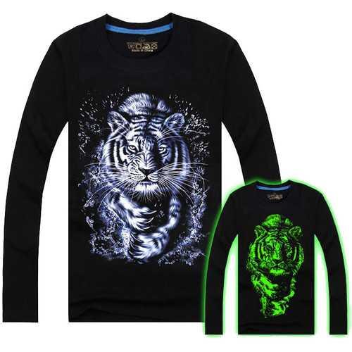 Men Cotton Blended 3D Printed Noctilucent Water Tiger Long Sleeve T-shirt