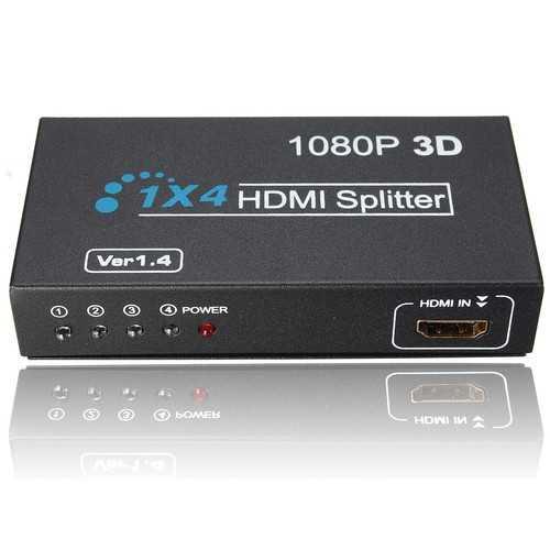 1 In 4 OUT HD 1080P 3D 1.4 HD Splitter Duplicator Amplifier Switch AC Adapter
