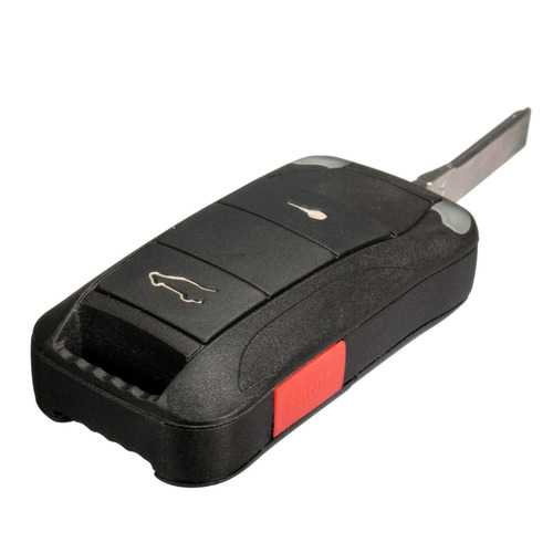 2 Button + Panic Remote Key Fob Case Shell With Blade For Porsche Cayenne 03-11
