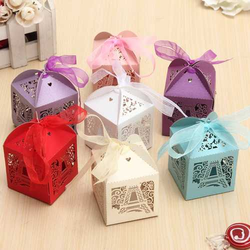 10PCS Effiel Tower Pattern Ribbon Laser Cut Hollow Out Wedding Candy Box Gift Chocolate Storage