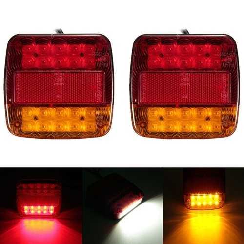 12V Trailer Truck 20 LED Taillight Turn Signal Brake Number Plate Light Lamp