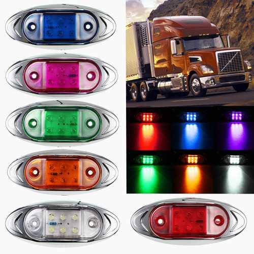 12V Waterproof Side Marker Clearance Lights 6 LED Warning Lamp Bulb