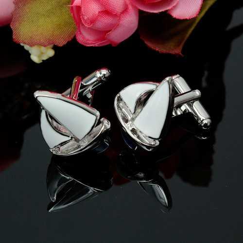 Men Male Silver Sailing Pattern Cuff Links  Retangular Stainless Steel Wedding Gift Attire Accessories