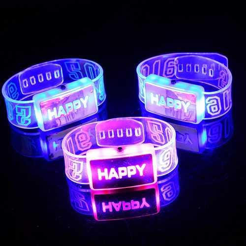 2016 Happy LED Wristband Bracelet Glowing Happy Wristband Dance Party Decoration